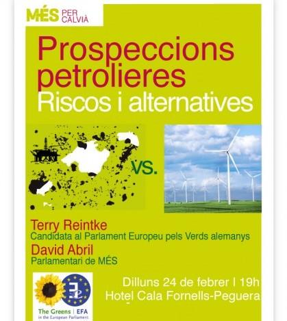 Cartel de la charla sobre prospecciones petrolíferas